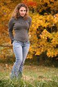 Brunette In Autumn poster