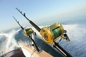 stock photo of rod  - big game fishing reels and rods reels and rods - JPG