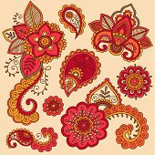 Henna Flowers and Paisley Mehndi Tattoo Doodle Set- Colorful Abstract Floral Hand Drawn Vector Illus
