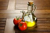 Ingredients of the Mediterranean diet, extra virgin olive oil and tomatoes