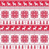 Xmas nordic seamless red pattern with deer