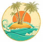Vintage Tropical Island.vector Symbol Seascape With Sun On Old Paper
