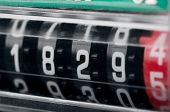stock photo of fuel efficiency  - Close up of modern electricity meter counter - JPG