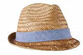Mens straw hat isolated on white