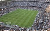 BARCELONA, SPAIN- AUGUST 18: A sold out Barcelona football stadium Camp Nou during the match between