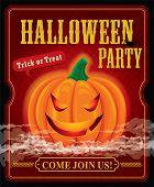 Vintage halloween party poster design