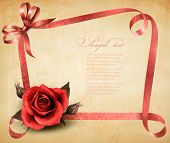 Retro holiday background with red rose and ribbons. Vector illustration.