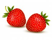 pic of strawberry  - Two ripe strawberries with leaves - JPG