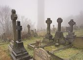 victorian headstones in a misty cemetery