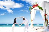 loving couple on wedding day on tropical beach near bamboo arch with flowers