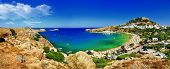 stock photo of greek-island  - panoramic view of Lindos bay - JPG