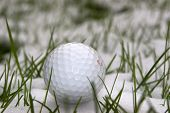 image of dimples  - A single golf ball in the snow covered grass in Ireland at winter