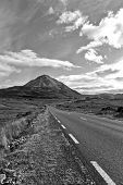 Black And White Road To The Errigal Mountains Ireland