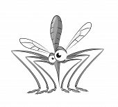 stock photo of gnats  - Vector image of funny gray sitting mosquito - JPG