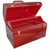 An empty red metal toolbox where you can place text or tools for a message or to show a special pict