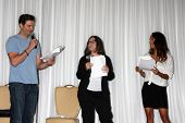 LOS ANGELES - AUG 25:  Daniel Goddard, Fan, Christel Khalil; doing a scene from a YnR script at the