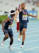 BARCELONA - JULY, 14: Eric Futch(L) and Quincy Downing(R) of USA competes on 4X400 Relay of the 20th