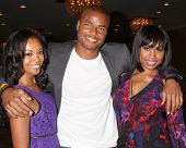 LOS ANGELES - AUG 24:  Mishael Morgan, Redaric Williams, Angell Conwell at the Young & Restless Fan