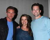 LOS ANGELES - AUG 24:  Steve Burton, Melissa Claire Egan, Michael Muhney at the Young & Restless Fan