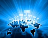 image of debate  - Blue vivid image of globe - JPG