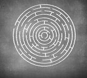 Round maze against white background. Solution idea