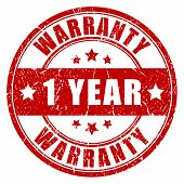 One year warranty stamp