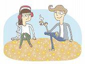 Small Vignette Illustration Of A Flirting Couple