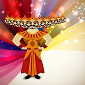 foto of ravana  - Indian festival Happy Dussehra shiny background with illustration of Ravana with his ten heads - JPG