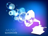 Stylized musical background with gramophone.