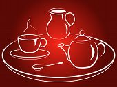 picture of milkman  - Coffee service with cup coffee pot spoon tray and milkman - JPG