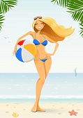 girl in bikini with ball vector illustration EPS10. Transparent objects and opacity masks used for shadows and lights drawing