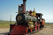 stock photo of transcontinental  - A replica of the train that helped build the transcontinental railroad - JPG