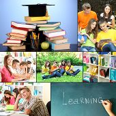Collage of students peoples- education concep