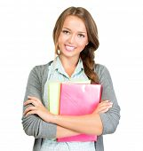 Student Girl Portrait. Cute Young Attractive Teenage Girl Holding Colorful Exercise Books. Isolated