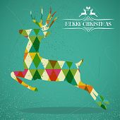 Merry Christmas Colorful Reindeer Shape Illustration.