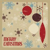 Retro Christmas card with christmas decorations and snowflakes - brown and red