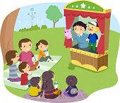 image of stickman  - Illustration of a Stickman Family Watching a Puppet Show - JPG