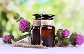 image of scottish thistle  - Medicine bottles with thistle flowers on nature background - JPG