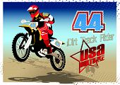picture of dirt-bike  - Vector illustration of a dirt bike riding over a sand hill - JPG