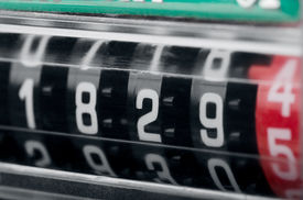 picture of electricity meter  - Close up of modern electricity meter counter - JPG
