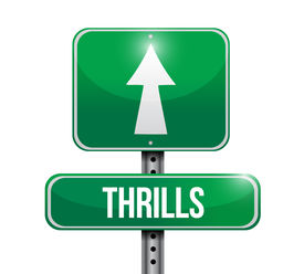 image of titillation  - thrills road sign illustration design over a white background - JPG