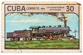 Postage Stamps Printed In Cuba Shows Trains And Locomotives