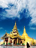 Shwedagon pagoda and temple in Myanmar, Yangon. Golden stupa in Burma. Famous tourist landmark