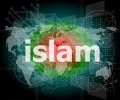 Islam, Hi-tech Background, Digital Business Touch Screen