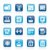 stock photo of elevator icon  - Hotel Amenities Services Icons  - JPG