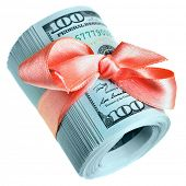 Roll of new hundred dollar bills - Money for gift