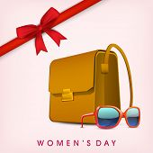 Happy Womens Day greeting card or poster design with ladies bag and eyewear, red ribbon on pink background.