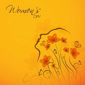 Happy Womens Day greeting card or poster design with illustration of a woman on floral decorated yellow background, can be use as flyer, banner or poster.