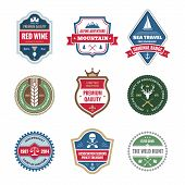 picture of deer horn  - Badges collection in vector format for different design works - JPG