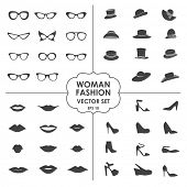 Woman Fashion Set vector - icons, glasses, hats, shoes, lips - Collection of icons can be used in we